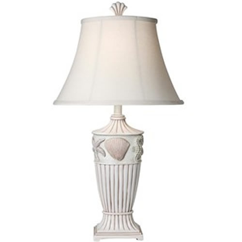 White Seashell Table Lamp L3 1293  30in ...
